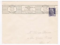"""F013 - Oblitération Rodez 14-9-54 """"CAPITALE TOURISTIQUE DU ROUERGUE"""" - Marcophilie (Lettres)"""