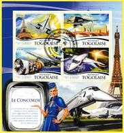 Bloc Feuillet Oblitéré De 4 Timbres-poste - Le Concorde - République Togolaise 2015 - Togo (1960-...)