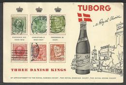 Cartoncino Augurale Birra TUBORG Con I Francobolli Degli Ultimi Tre Re Di Danimarca - Autres Collections