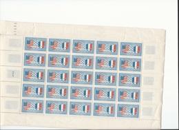 Feuille Complète De  25  Timbres Du N° 840 Amitié Franco-américaine. - Full Sheets