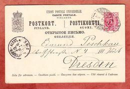 P 25 Staatswappen, Willmanstrand Nach Dresden 1893 (93063) - Entiers Postaux
