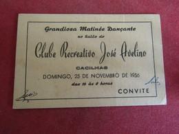 Portugal - Clube Recreativo José Avelino - Cacilhas - Convite Grandiosa Matiné Dançante 1956 - Cartoncini Da Visita