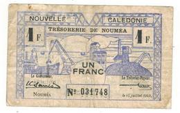 New Caledonia, Noumea. 1 Fr. 1942, F. - Andere - Oceanië