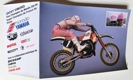 Carte Publicitaire Moto Jacky Vimond Champion Du Monde 1984 250cc Team Yamaha Motul Motocross - Motociclismo