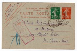 10.08.1918. WWI  FRANCE,BEAULIEU SUR MER TO BOGATIC,SABAC,SERBIA VIA GENEVA,CENSORED IN AUSTRIA - Letter Cards