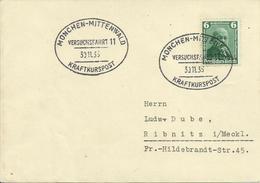 1936  Daimler Auf Karte Mit Sonderstempel  München-Mittenwald  Kraftkurspost   Sehe Beschreibung - Allemagne