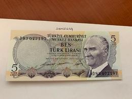 Turkey 5  Lira Banknote 1970 #1 - Turquie