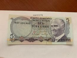 Turkey 5  Lira Banknote 1970 #2 - Turquie