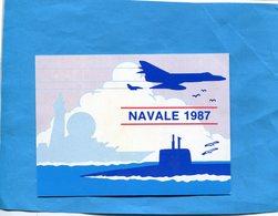 """MARINE NATIONALE-NAVALE 1987 -cart Illustrée Avions """"étandard Et Sous Marin""""dos Mai Mois Des Concours - Militaria"""