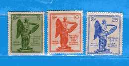 (Riz) REGNO ITALIA *- 1921 - Anniversario Della VITTORIA. Unif. 119-120-122. MH * - Mint/hinged