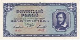 BILLETE DE HUNGRIA DE 1 MILLIO PENGO DEL AÑO 1945 EN CALIDAD EBC (XF) (BANKNOTE) - Hungary