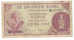 Netherlands Indies 1/2 Gulden, 1948. F/VF. - Indes Neerlandesas