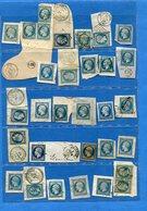 LOT-31 Timbres Oblitérés Sur Fragments De Lettres-N°14 Napoléon III-bel Ensemble-types-cachets-variétés  Etc - 1853-1860 Napoléon III