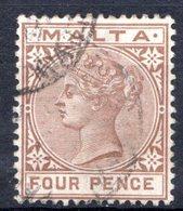 MALTE (Colonie Britannique) - 1885 - N° 9 - 4 P. Brun - (Malta) - Malta
