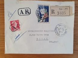 SAUJON - Recommandé AR - 10 Septembre 1955 - Charente Maritime - Joaillerie YT 973 Muller 1011 - Marcophilie (Lettres)
