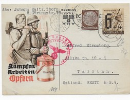 1940 - Privatganzsache WHW - Thorn Nach Tallin / Estland - Zensur - Allemagne