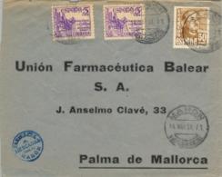 1951 , ISLAS BALEARES , SOBRE CIRCULADO ENTRE MAHÓN Y PALMA DE MALLORCA , FARMACIA , PHARMACY - 1931-Hoy: 2ª República - ... Juan Carlos I