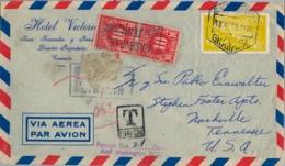 1957 , GRANADA - NASHVILLE, CORREO AÉREO , ED. 1176  , SELLOS DE TASA POR INSUFICIENCIA DE FRANQUEO , TAX , TAXE - 1951-60 Briefe U. Dokumente