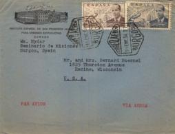 1954 , BURGOS - WISCONSIN , SOBRE CIRCULADO , INSTITUTO ESPAÑOL DE SAN FRANCISCO JAVIER PARA MISIONES EXTRANJERAS - 1951-60 Lettres