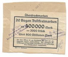Deutsches Reich Infla Bogenzettel 1 Okt 1923 Scarce! - Germany