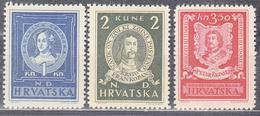 CROATIA     SCOTT NO  56-58   MINT HINGED    YEAR  1943 - Croatie