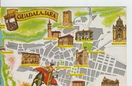 Postal 6645 : Plano Ciudad Y Monumentos De Guadalajara - Cartes Postales