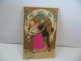 BONNE ANNÉE PORTE BONHEUR FEMME HOMME A L'ECHELLE ET FER A CHEVAL CPA 1902 NO 209 S - Neujahr