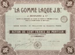 Indochine - La Gomme Laque J. B. - Capital De 2 000 000 F / Action De 100 F - Asie