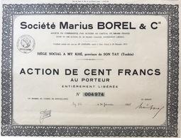 Indochine - Sté Marius Borel Et Cie - Capital De 500 000 F / Action De 100 F - Asie