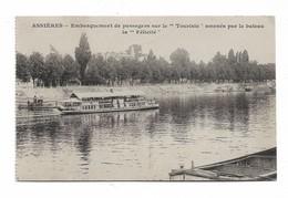 """CPMJ4680 ASNIERES  EMBARQUEMENT DE PASSAGERS SUR LE """"TOURISTE"""" AMENES PAR LE BATEAU LA """"FELICITE"""" - Asnieres Sur Seine"""