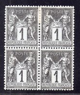 Type Sage N° 83 Neuf **/* Gomme D'Origine, Bon Centrage En Bloc De 4  TB - 1876-1898 Sage (Type II)