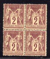 Type Sage N° 85a Neuf **/* Gomme D'Origine En Bloc De 4  TB - 1876-1898 Sage (Tipo II)