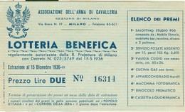 LOTTERIA BENEFICA -PREZZO LIRE DUE -15/12/1936-ASSOCIAZIONE DELL'ARMA DI CAVALLERIA,MILANO,ELENCO DEI PREMI - Lottery Tickets