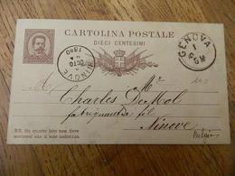 NINOVE:CARTE POSTALE ENTIER POSTALE DE 1880 ITALIE  AVEC OBLITERATION DE GENOVA ET ENVOYEE A NINOVE A CHARLES DE MOL - Ninove