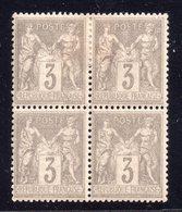 Type Sage N° 87 Neuf **/* Gomme D'Origine En Bloc De 4  TB - 1876-1898 Sage (Tipo II)