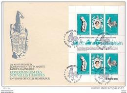 L4M140 NOUVELLES HEBRIDES 1978 FDC 25è Anniversaire Couronnement Elizabeth II  BF Port Vila 02 09 1978 / 2 Envel.  Illus - FDC