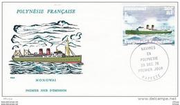 L4M162 POLYNESIE FRANCAISE 1978 Bateaux FDC Monowai 30f Papeete 29 121978 /envel.  Illus. - Boten