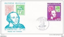 L4M179 POLYNESIE FRANCAISE 1979 FDC Sir Roland Hill 100f Papeete 01 08 1979 / Envel.  Illus. - FDC