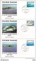 L4M220 POLYNESIE FRANCAISE 1981 FDC Les Iles De Polynésie Françaises 34f, 134f, 136f, Papeete 22 10 1981 / 3 Envel.  Ill - FDC