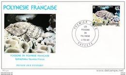 L4M227 POLYNESIE FRANCAISE 1982 Poissons FDC Epinephelus Tauvina Faroa 45f Papeete 04 02 1982 /envel.  Illus. - Peces