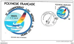 L4M234 POLYNESIE FRANCAISE 1982 FDC Championnat Du Monde Hobie Cat 16 90f Papeete 13 08 1982 / Envel.  Illus. - FDC