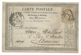 N° 55 BISTRE CERES SUR CARTE POSTALE / ROCHEFORT SUR MER CHARENTE INFERIEURE POUR AMIENS / 1875 - Marcophilie (Lettres)