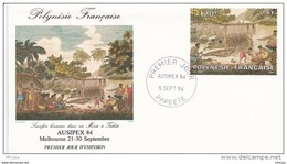 L4N013 POLYNESIE FRANCAISE 1984 FDC Ausipex 84 120f Papeete 05 09 1984 / Envel.  Illus. - FDC