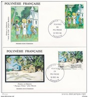 L4N016 POLYNESIE FRANCAISE 1984 FDC Peintres En Polynésie 50f,65f, 75f, 85f Papeete 12 12 1984 / 4 Envel.  Illus. - FDC