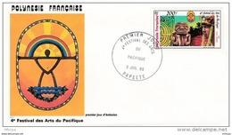 L4N023 POLYNESIE FRANCAISE 1985 FDC 4ème Festival Des Arts Du Pacifique 200f Papeete 03 07 1985 / Envel.  Illus. - FDC