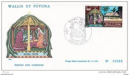 L4N037 WALLIS ET FUTUNA 1978 FDC Noël 1978 160f Mata-Utu 04 12 1978 / Envel.  Illus. - FDC