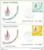 L4N038 WALLIS ET FUTUNA 1978 FDC 30è Anniversaire Droits De L'homme 44f 56f Mata-Utu 10 12 1978 / 2envel.  Illus. - FDC