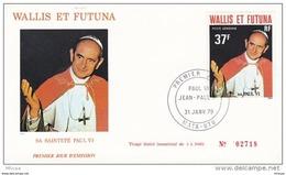 L4N039 WALLIS ET FUTUNA 1979 Pape FDC Sa Sainteté Paul VI 37f Mata-Utu 31 01 1979 / Envel.  Illus. - FDC