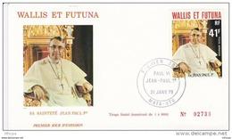 L4N040 WALLIS ET FUTUNA 1979 Pape FDC Sa Sainteté Jean Paul 1er 41f Mata-Utu 31 01 1979 / Envel.  Illus. - FDC