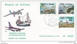 L4N042 WALLIS ET FUTUNA 1979 FDC Dessertes Aériennes Maritime Des Iles 46f, 68f, 80f Mata-Utu 28 02  1979 / Envel.  Illu - FDC